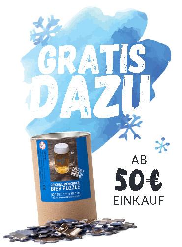 Bei einem Einkauf ab 50€ bekommst du ein Münchner Bierpuzzle gratis dazu.